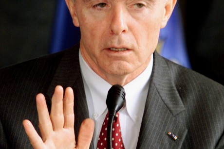 U.S. WHITE HOUSE ANTIDRUGS DIRECTOR BARRY McCAFFREY GESTURES.