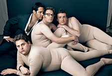 In a spoof of its nude starlet cover, the magazine has four leading men ...