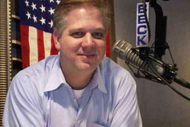 """In this March 12, 2003 file photo, syndicated radio host Glenn Beck, whose Philadelphia-based show is heard in more than 100 markets, is seen after recording promotional announcements for an upcoming """"Rally for America"""" in Bala Cynwyd, Pa."""