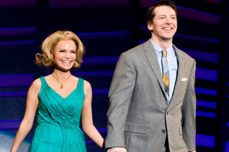 Sean Hayes and Kristin Chenoweth appear for the curtain call at the opening ...
