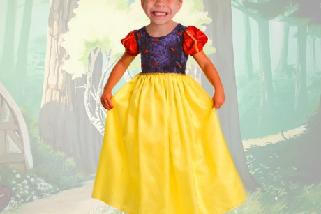 my son in a dress. And not just any dress. A Snow White dress