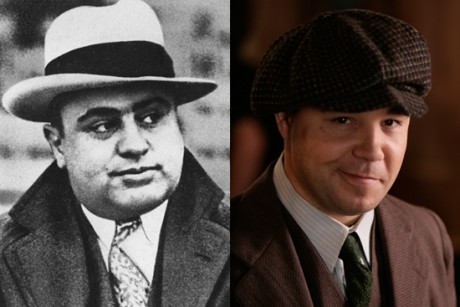 "Left: Chicago mobster Al Capone. Right: Stephen Graham as Al Capone in ""Boardwalk Empire"""