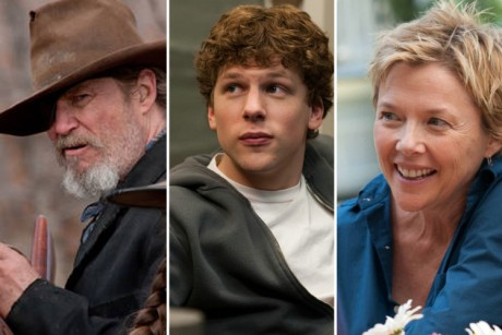 "Jeff Bridges in ""True Grit,"" Jesse Eisenberg in ""The Social Network"" and Annette Bening in ""The Kids Are All Right"""