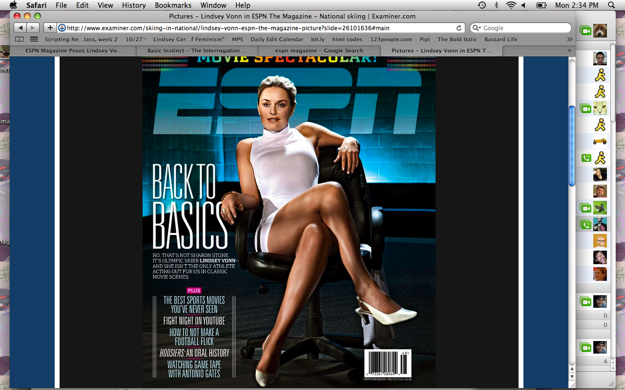 "Lindsey Vonn re-creates ""Basic Instinct"""