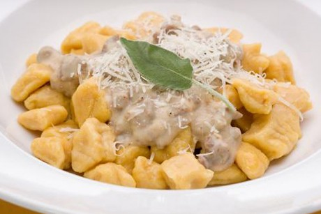 Pumpkin gnocchi with maple sausage gravy