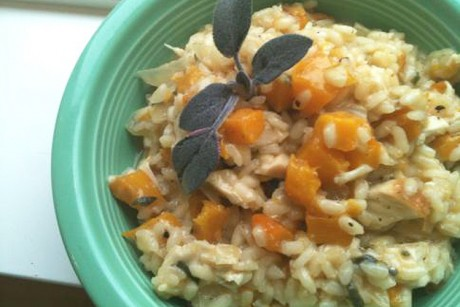 Sage-roasted chicken and pumpkin risotto recipe - Salon.com