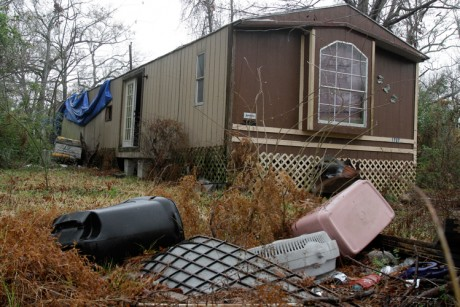 An abandoned trailer in Cleveland, Texas where authorities say an 11-year-old girl was sexually assaulted in November, 2010.
