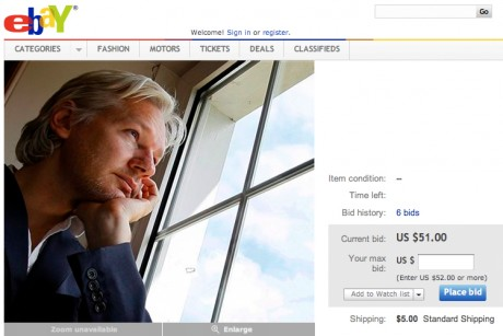 Julian Assange markets himself on eBay
