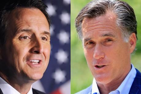 romney signs new marriage pledge pawlenty doesnt 460x307 Santorum's Response to Question on Gay Rights. Rick Santorum and Mitt Romney ...