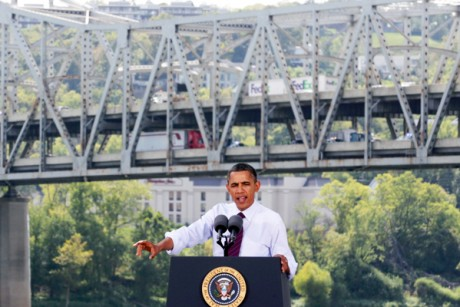 President Obama speaks in front of the dilapidated Brent Spence Bridge during a visit to Cincinnati on Sept. 22.