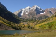 Hiking with the family at the Maroon Bells in Aspen, Colo.