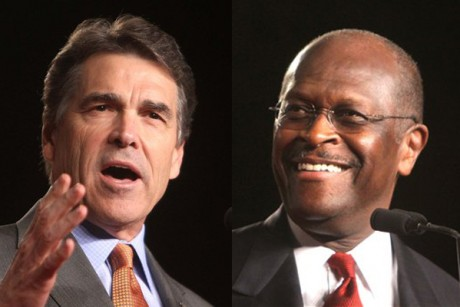 Herman Cain, now tied with Perry in polls, backtracks on