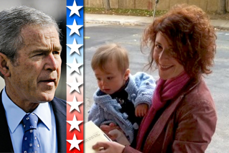 Left: George W. Bush. Right: The author's wife holds their son as she mails her ballot for the election.