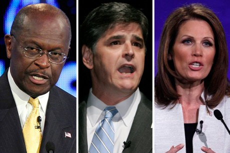Herman Cain, Sean Hannity and Rep. Michele Bachmann