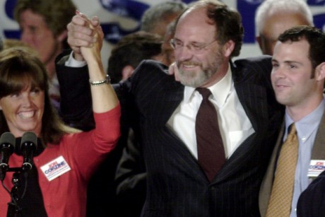 Jon Corzine celebrates his victory in the Democratic primary for the U.S. Senate in 2000.