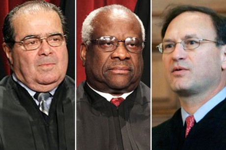 Antonin Scalia, Clarence Thomas and Samuel Alito