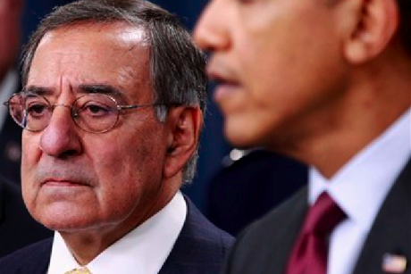 Defense Secretary Leon Panetta listens as President Barack Obama speaks on the Defense Strategic Review, Thursday, Jan. 5, 2012, at the Pentagon.