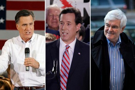 Mitt Romney, Rick Santorum and Newt Gingrich