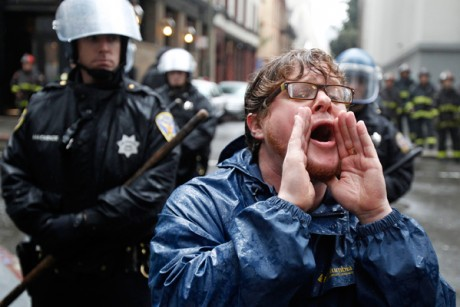 An Occupy Wall Street protester chants during an Occupy protest in January.