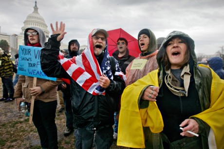 Occupy Wall Street protesters demonstrate on Capitol Hill in Washington on Jan. 17.