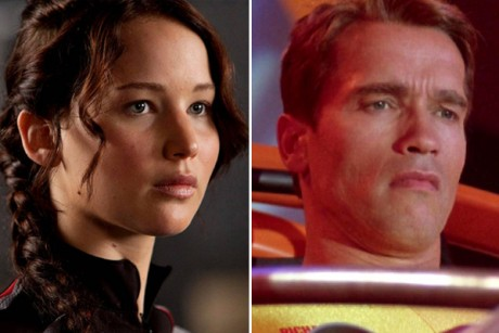 "Jennifer Lawrence in ""The Hunger Games"" and Arnold Schwarzenegger in ""The Running Man"""