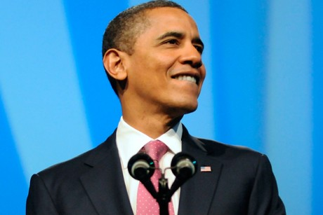 President Obama smiles during remarks at the AIPAC conference in Washington.