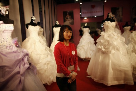 Wedding dresses at the China International Wedding Expo in Shanghai Credit
