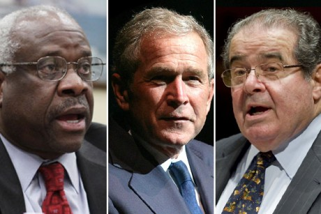 Clarence Thomas, George W. Bush and Antonin Scalia