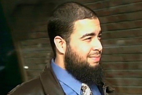 Tarek Mehanna is seen in this image from video footage taken in Boston in 2009.