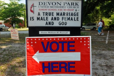 Christianity's anti-gay stance backfires A sign displays a message opposed ...