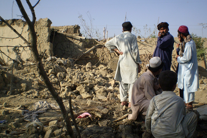 Rubble after a U.S. drone strike in Pakistan (Credit: Reuters/Haji Mujtaba)
