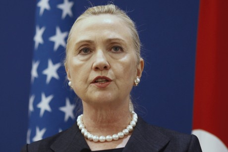U.S. Secretary of State Clinton speaks during a news conference after her meeting Turkish Foreign Minister Davutoglu