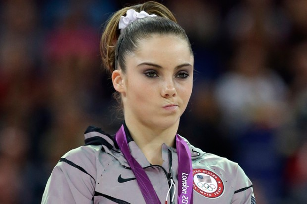 McKayla Maroney during the podium ceremony for the artistic gymnastics women's vault finals at the 2012 Summer Olympics on Sunday, Aug. 5.