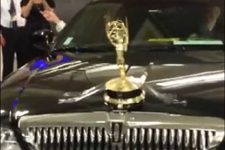 Tom hanks attaches emmy to his car because he can for Tom and guy salon