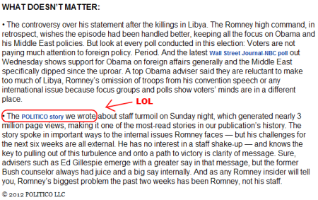 Politico doesn't matter