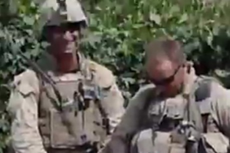 Still from YouTube video of marines urinating on dead Taliban fighters (YouTube)