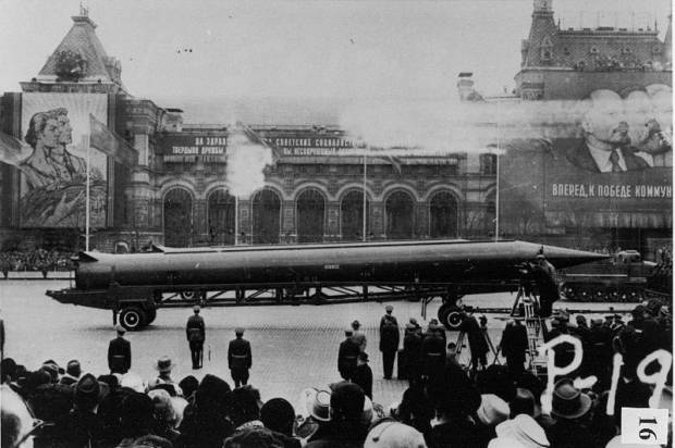 CIA reference photograph of Soviet R-12 intermediate-range nuclear ballistic missile (NATO designation SS-4) in Red Square, Moscow