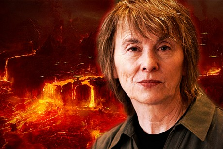 "Camille Paglia, and the fiery planet of Mustafar, from ""Star Wars Episode III: Revenge of the Sith."""