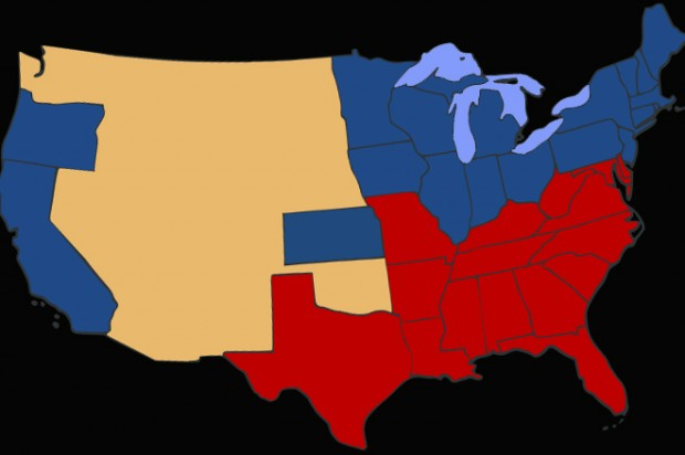 Slave states vs. free states, 2012