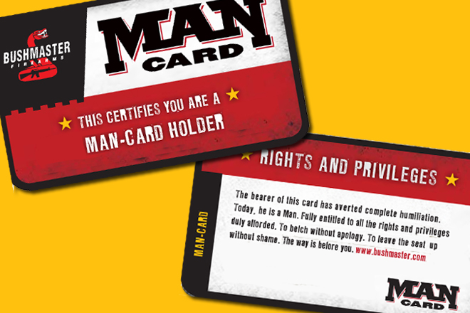 "2012 Campaign Starts Today >> Assault rifle company issues ""man cards"" 