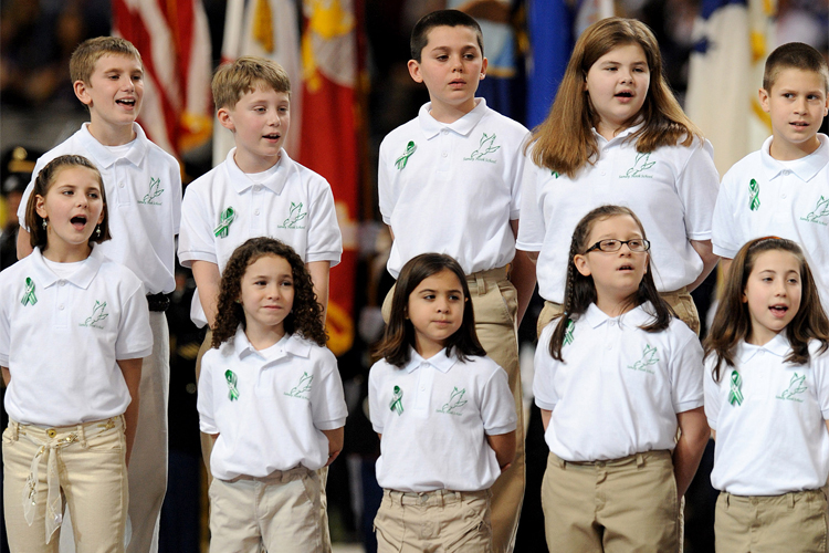 sandy hook victims at super bowl I'm not really a big football fan, but this sunday i'm not going to miss the beginning of the super bowl, because the pre-game show will include a performance by the sandy hook elementary school chorus made up of 20 kids and 6 teachers--to represent each of the 26 victims--the chorus is going to.