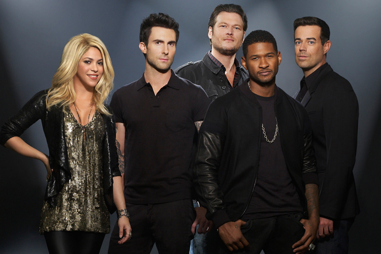 topics the voice shakira tv television adam levine usher blake shelton    The Voice Judges 2013 Names