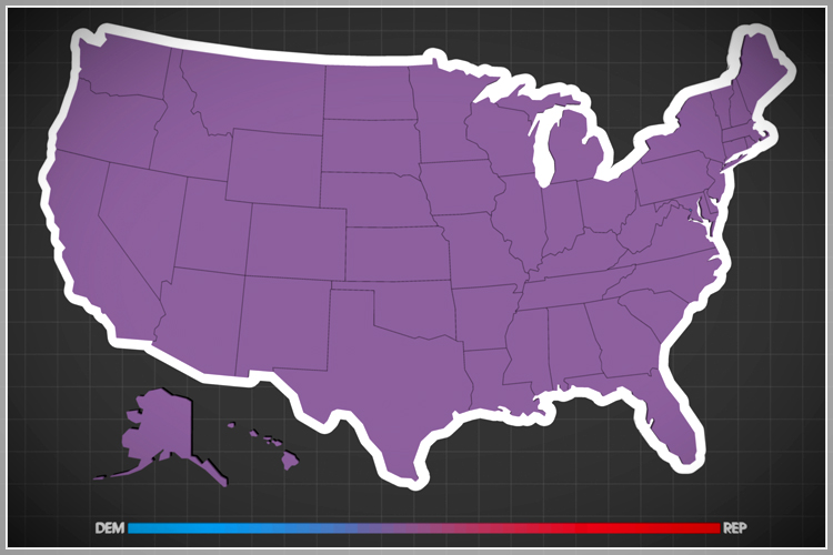 Purple America Map.Guns And Abortion Is Compromise Even Possible Salon Com