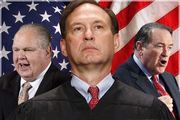Rush Limbaugh, Justice Samuel Alito, Mike Huckabee
