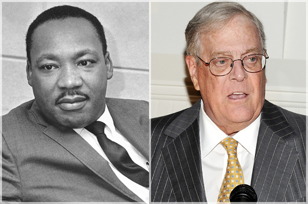Charles koch s affront to mlk how a right wing tycoon got for David und charles koch