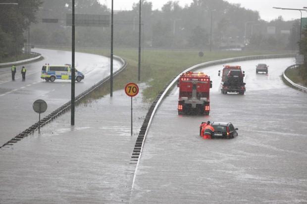 Flash floods snarl traffic in Sweden, Denmark