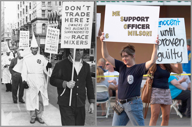 Unidentified Ku Klux Klan members are among those picketing a restaurant, July 11, 1964, Atlanta, Ga.; supporters of Darren Wilson hold placards in St. Louis, Mo., Aug. 23, 2014.