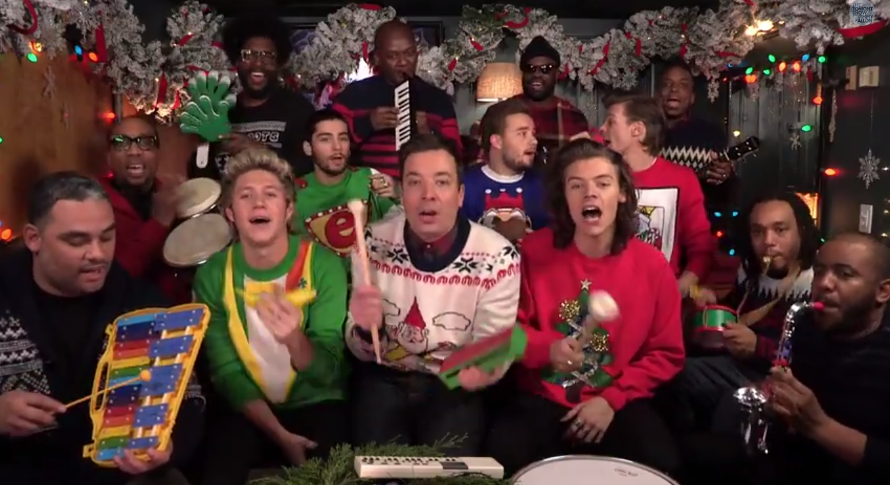 Jimmy Fallon Christmas Sweaters.Jimmy Fallon One Direction And Classroom Instruments Will