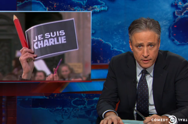 """Je suis confused"": Jon Stewart sorts though France's baffling free speech hypocrisy"