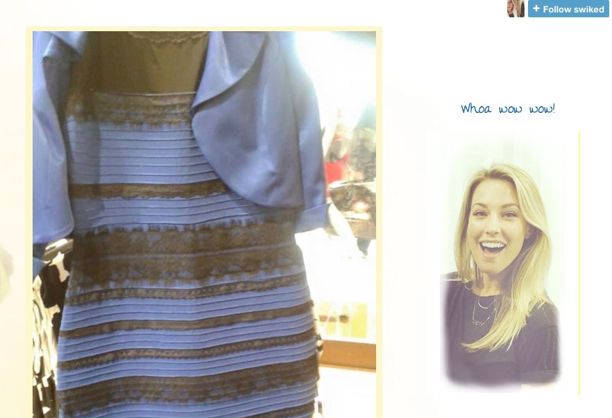 Color blind dress white and gold